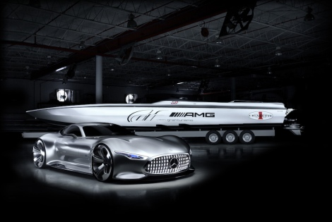 Mercedes-AMG und das Cigarette Racing Team präsentieren zwei visionäre Supersportkonzepte. // Mercedes-AMG and Cigarette Racing Team present two visionary super sports concepts.
