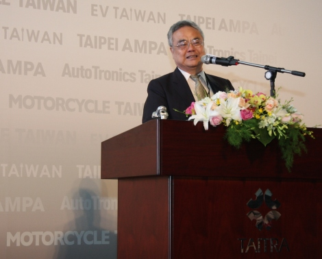 Cheng Fu-hsiong, vice-chairman of Taiwan Electrical and Electronic Manufacturers' Association at the 2014 Joint Opening Ceremony of Taipei AMPA, AutoTronics Taiwan, Motorcycle Taiwan and EV Taiwan