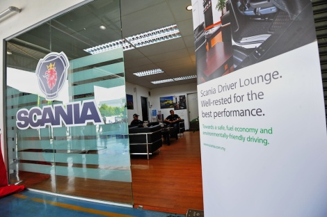 A view from the entrance of the Scania Driver Lounge