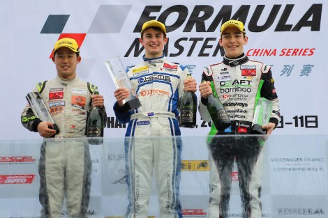 FMCS_Race 2 podium (left to right) Yuya Motojima, James Munro and Matthew Solomon