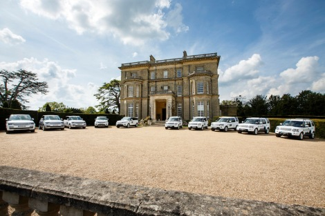 The Land Rover Experience fleet line up outside Hedsor House ready for guests to experience their capability off-road.