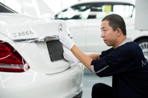 Finishing touches at the all-new Mercedes-Benz Long-wheelbase C-Class at Beijing Benz Automotive (BBAC) in China.