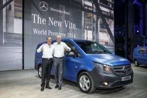 World premiere of the new Mercedes-Benz Vito in Berlin (from left) Volker Mornhinweg, Head of Mercedes-Benz Vans, and Dr. Dieter Zetsche, Chairman of the Board of Management Daimler AG & Head of Mercedes-Benz Cars Division, after the reveal of the new Vito.