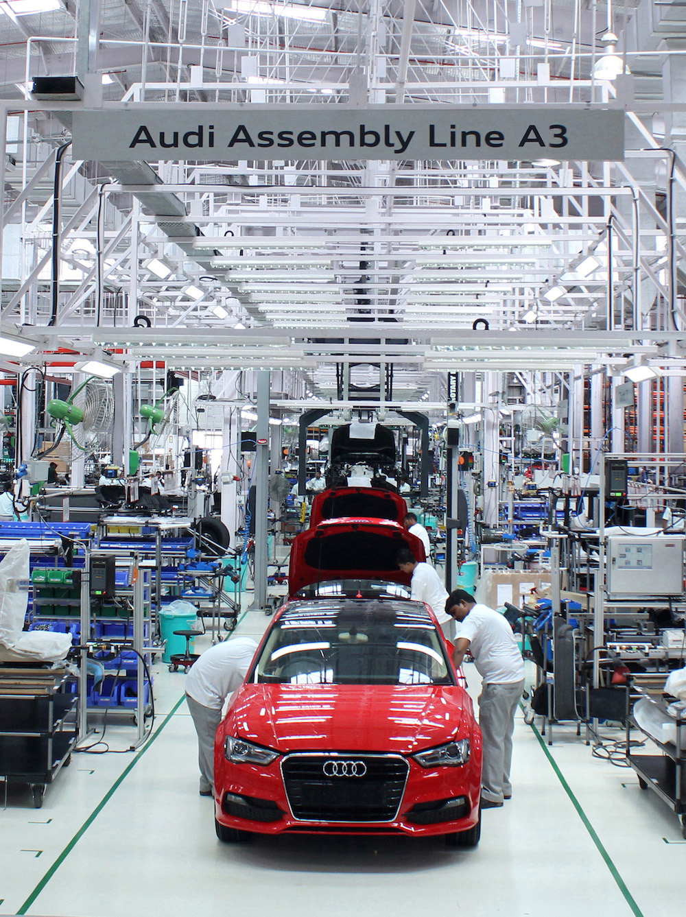 The Audi A10 Sedan rolls out of the Aurangabad plant in India ... | audi car manufacturing plant in india