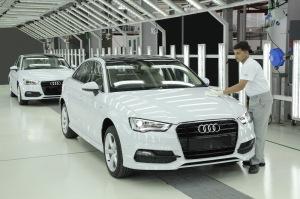 The Audi A3 Sedan rolls out of the Aurangabad plant