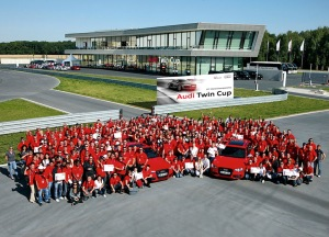 Award ceremony at the new Audi driving experience centre close to the brand's Ingolstadt headquarters: 75 teams from 38 countries participated at this year's Audi Twin Cup world finals to crown the Service World Champion of the Four Rings.