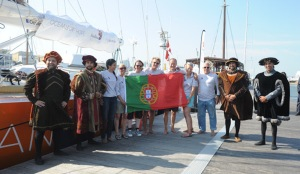 Oceans of Hope crew with the Portuguese explorers, Gil Eans, Vasco da Gama, Fernoa de Magalhaes and Pedro Alverez Cabral.