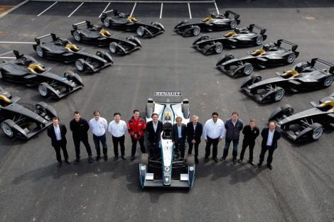Team representatives with the Formula E cars