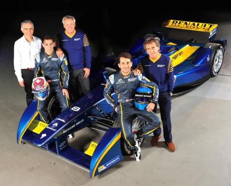 E.DAMS-RENAULT FORMULA-E TEAM From left to right: Patrice Ratti, Sébastien Buemi, JeanPaul Driot, Nicolas Prost, Alain Prost