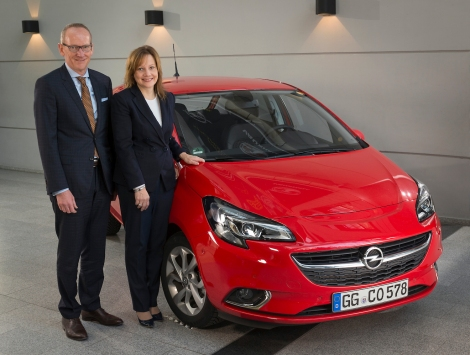 GM CEO Mary Barra and Opel Group CEO Dr. Karl-Thomas Neumann in front of the new Corsa. Barra announces production of a new SUV in Rüsselsheim.