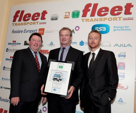 At the award ceremony, from left to right: Sean Murtagh (Fleet Publications), Kevin Kealy (Fuso Ireland), Andrew O'Connell (ESB ecars).