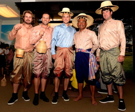 (L-R) Lee Westwood of England, Victor Dubuisson of France, Thongchai Jaidee of Thailand, Martin Kaymer of Germany, Sergio Garcia of Spain, Martin Kaymer of Germany and Bubba Watson of the USA are fitted out in traditional Thai clothing ahead of the Thailand Golf Championship, the US$ 1 Million Asian Tour event at the Amata Spring Country Club, Chon Buri, Thailand, December 11-14, 2014 at the Queen Sirikit Textile Museum on December 9, 2014 in Bangkok Thailand. (Photo by Paul Lakatos/Asian Tour/Asian Tour via Getty Images)