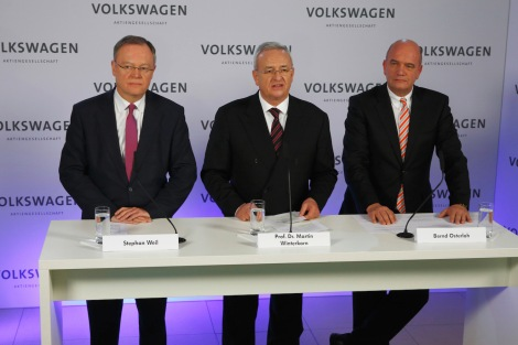 Stephan Weil, Minister-President of the Federal State of Lower Saxony and Member of the Supervisory Board of Volkswagen Aktiengesellschaft, Prof. Dr. Martin Winterkorn, Chairman of the Board of Management of Volkswagen Aktiengesellschaft and Bernd Osterloh, Chairman of Volkswagen's Group Works Council.