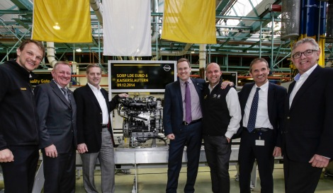Exceptional attendance: Start of production of the Euro 6 diesel with Pieter Ruts, Assistant Plant Manager, Peter Küspert, Vice President Sales & Aftersales Opel Group, Jim DeLuca, GM Executive Vice President Global Manufacturing, Christian Müller, Vice President GM Powertrain Engineering Europe, Peter Winternheimer, Plant Manager (acting), Dr. Jens Wartha, Global Program Manager and Chief Engineer and Marc Schiff, Executive Director Manufacturing (from left to right).