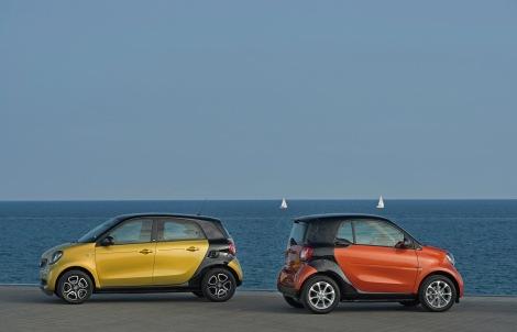 Smart fortwo Lava Orange/ Night Black; Smart forfor Yellow/ Black