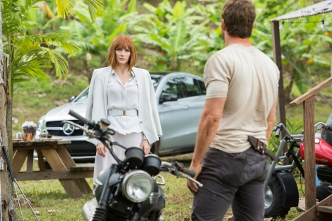 Bryce Dallas Howard and the all-new Mercedes-Benz GLE Coupé on the set of Jurassic World.