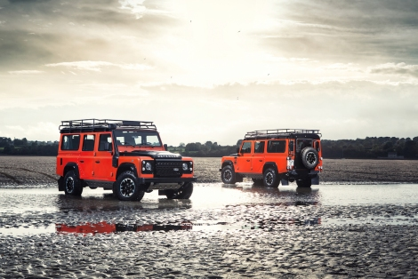 The Adventure Limited Edition embraces Defender's 'go anywhere, do anything' attitude and comes fitted with additional underbody protection and grippy Goodyear MT/R tyres. Features include unique exterior decals and a leather-trimmed cabin. Picture shows the Adventure Limited Edition fitted with optional accessories (roof rack, rear ladder and raised air intake).