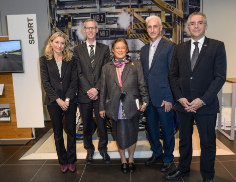 (from left to right) Konstanze Carreras, central management of vocational training BMW Group; Per Ankersen, Head of Human Resources Plant Berlin; Her Royal Highness Princess Maha Chakri Sirindhorn of Thailand; Jeffery Gaudiano, Managing Director BMW Manufacturing Thailand; Arndt Focken, Strategy and Steering Sales Network