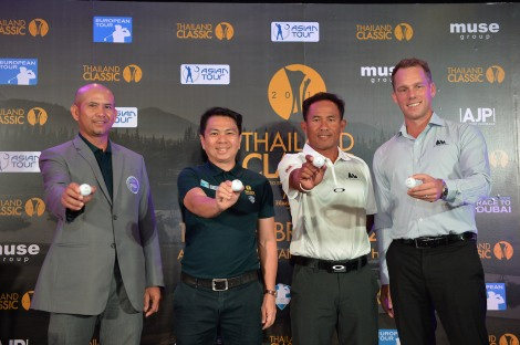 (from left) Pongpumin Klahan – Secretay General, Professional Golf Association of Thailand; Boonperm  Intanapasat – CEO, Muse Group Bangkok; Thongchai Jaidee - Tournament's ambassador; Harald Elisson - General Manager, Black Mountain Golf Club, Hua Hin