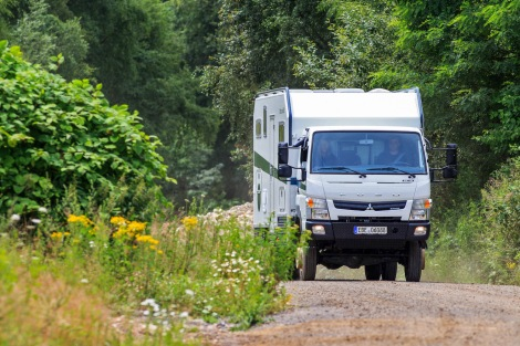 The Bimobil EX 460 camper van based on the robust Fuso Canter 4x4 is the perfect vehicle for discovering the world, even off the beaten track.