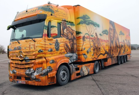"The Mercedes-Benz Actros 1845, ""The Cradle of Humanity"", is set to be the star of Aachen's Shrove Monday carnival procession."