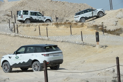 Range Rover Sport, Land Rover Discovery and Range Rover Evoque navigating the Land Rover Experience at the Bahrain International Circuit.
