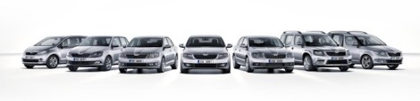 left): Citigo, New Fabia, Rapid, Octavia, Superb, Yeti, Roomster