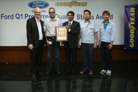 From left to right: Finbarr O'Connor, managing director of Goodyear Thailand, Sarabjit Hundal, manufacturing director of Goodyear Thailand, Thomas Manoj, general manager, STA, Ford Thailand, Napatt Nanthisantiphol, senior engineer, STA Chassis, Ford Thailand and Nattapong Kirunmoon, engineer, Site Chassis, Ford Thailand