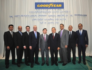 Goodyear (Thailand) Public Company Limited (GYT:SET), recently held its 47th Annual General Meeting in Bangkok.  Among the board members joining the meeting were Dr. Dhiraphorn Srifuengfung (5th from right), Chairman of the Board; and Finbarr O'Connor (6th from right), Goodyear Thailand's Managing Director.