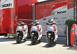 "in official red and white ""matt"" livery for the Ducati MotoGP Team"