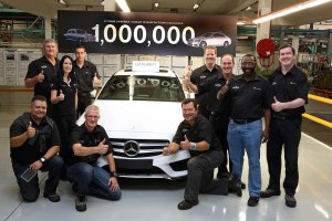 Mercedes-Benz East London plant, South Africa: Team members celebrate the production of the one millionth Mercedes-Benz passenger car – a white C-Class Sedan in right-hand drive.