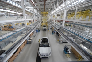 Compact car production at the Mercedes-Benz plant in Pune, India