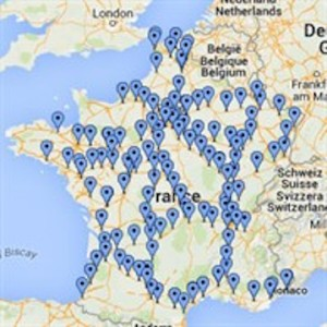 Map of charging points in France
